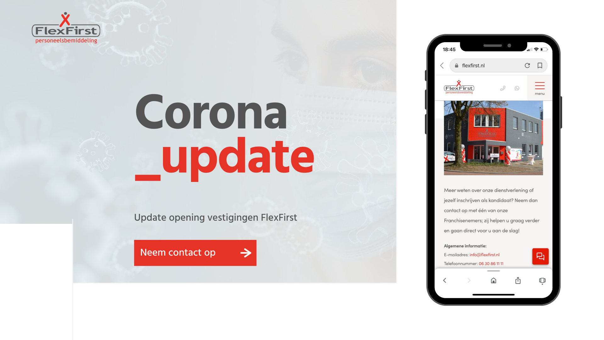 Update over opening van FlexFirst vestigingen tijdens Corona virus